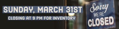 Closing early for inventory graphic
